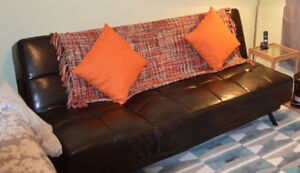 Leather sofa can be used as bed