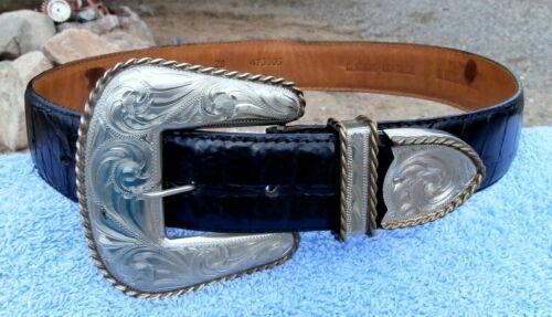 Diablo Silver Buckle Al Beres Leather Black Western Belt