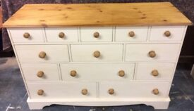 Hand Painted 13 Drawer Pine Chest of Drawers