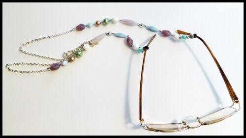 "PETITE SIZE PEARL & CRYSTAL BEAD Eyeglass Holder Necklace Chain Custom 30"" +/-"
