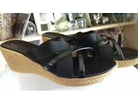 Black Wedge Sandals Size 8 - Made in Italy for Sainsbury TU Range