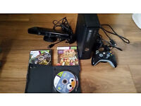 XBOX 360 with controller, Kinect and games.