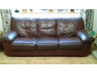Leather 3 Seater Sofa Bed by DFS