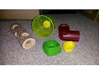 Hamster wheels (small) , toys and small bowls