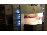 White High Bed /desk & wardrobe
