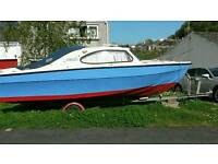 18.5ft cabin boat + 50hp outboard and controls + road trailer, fishing, cruising, sailing