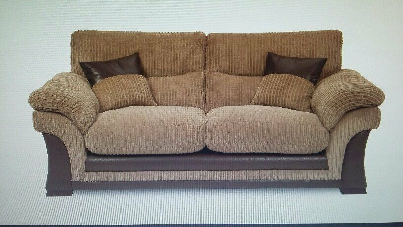DFS Brown Corduroy 3 Seater Sofa + Chair