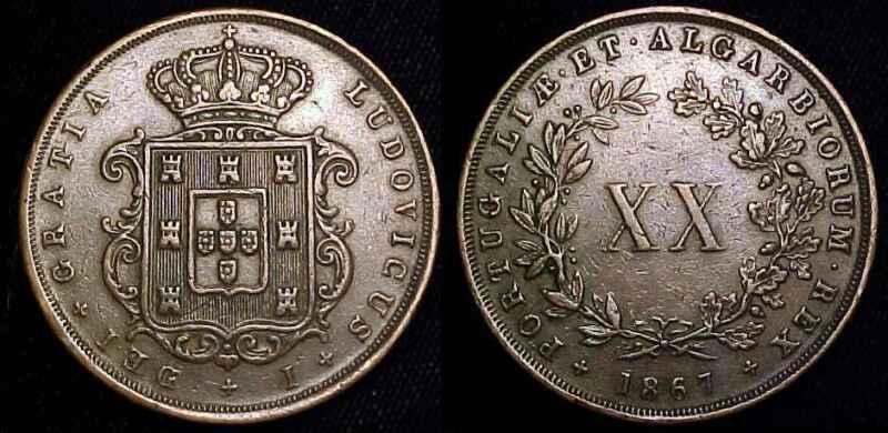PORTUGAL 1867 20 Reis ***