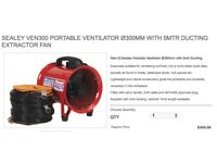 SEALEY VEN300 PORTABLE VENTILATOR Ø300MM WITH 5MTR DUCTING EXTRACTOR FAN
