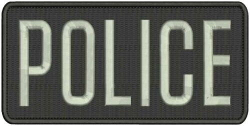 Police embroidery patches 4x8 hook on back silver black background