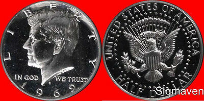 1969 S 40% Silver Kennedy Half Dollar Gem Proof