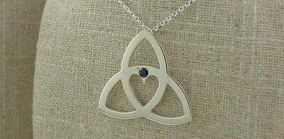 Tracy Gilbert Sapphire Sterling Silver Trinity Knot Heart Pendant Irish Made