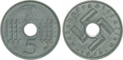Reichskreditkassen 5 Pfennig J.618 1940 D vorzüglich- prägefrisch ,zaponiert