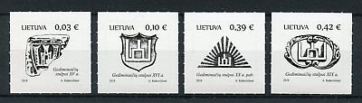 Lithuania 2018 MNH Columns of Gediminas State Symbols 4v S/A Set Emblems Stamps