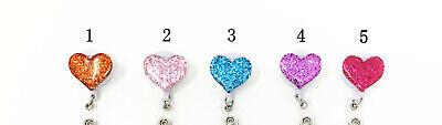 5 Pack Glitter Bling Love Heart Retractable Id Badge Reel Holder Swivel Clip