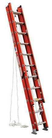 Werner D6228-3 28 Ft Fiberglass Extension Ladder, 300 Lb Load Capacity