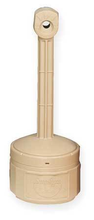 JUSTRITE 26806B Smokers Cease-Fire Cigarette Receptacle, 1 gal., Tan