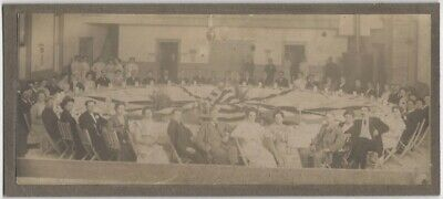 1910s Large Banquet Round Table with Patriotic Decorations Cabinet Card