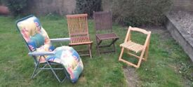 4 garden Chairs, including Lounger Recliner