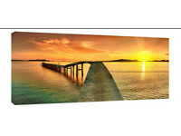 42 x 20-inch Large Sunset Pier Canvas Wall Art Print