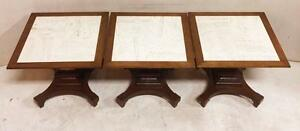 Set Of 3 Vintage Hespeler Square Coffee Tables With Pedestal Base And Stone Insert
