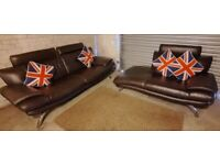DFS Lovely and Stylish brown leather large 2 seater sofa and matching chaise sofa
