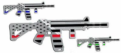 Truck, Jeep, Gun Safe Emblem - AR15 Gun w/Laser Cut Flag Motif | Stainless Steel