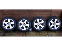 """SKODA 16"""" ALLOY WHEELS WITH TYRES 205 55 16 WILL ALSO FIT AUDI SEAT VW PASSAT OCTAVIA A4 A6 LEON +"""