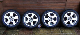 "SKODA 16"" ALLOY WHEELS WITH TYRES 205 55 16 WILL ALSO FIT AUDI SEAT VW PASSAT OCTAVIA A4 A6 LEON +"