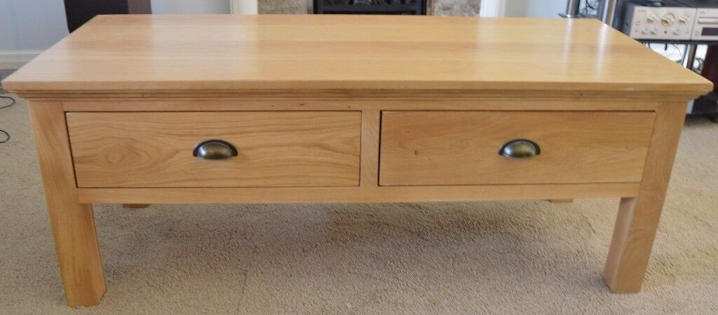 Solid Oak and Veneer Coffee Table with Drawers