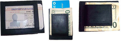 Money Clip, Men's Leather Credit card/ID holder, wallet with magnetic money clip