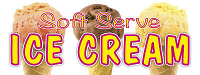 36 Soft Serve Ice Cream 02 Sticker Refreshing Flavors Concession Stand Sign
