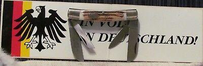 """1997 ULTRARARE NEW/MINTy BULLDOG DEER STAG HORN CONGRESS KNIFE,3 5/8""""CL,8 1/8""""OP"""