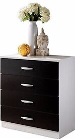 (Black and White) Petite 4 Drawer Bedroom Chest with Metal Runners / Flat Pack (Fixed Price)