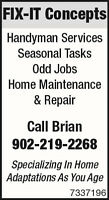 FIX-IT Concepts/Handyman Services~Specializing in Aging In Place