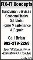 FIX-IT Concepts-Specializing in Aging In Place/Handyman Services