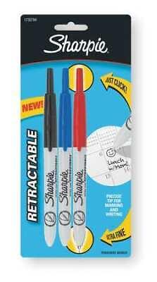 Sharpie 1735794 Retractable Permanent Marker Set Ultra Fine Tip Pk3