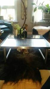 STAINLESS STEEL COFFEE TABLE MADE FROM OLD HOBART MACHINE.