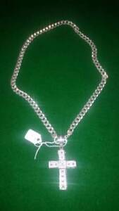 Silver Chain Necklace & Cross $149
