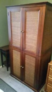 Wicker & Wood Armoire