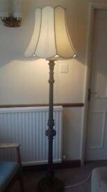 vintage teak looking turned carved and fluted chic standard lamp floor light rewired interior design
