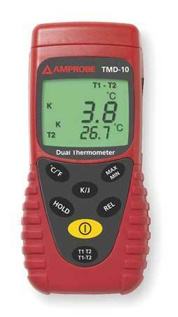 AMPROBE TMD-10 Thermocouple Thermometer,2 In,Type J, K