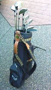 Full set of gold clubs with bag - great condition