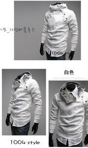 Mens Slim Zip up Top Design Hooded Jackets L