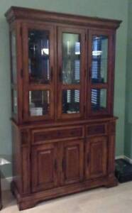 Solid Wood Buffet Hutch, Table and 4 Chairs