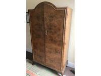 Gorgeous 50's gentleman's wardrobe art deco walnut antique