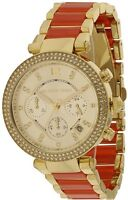 $380 Michael Kors Womens Gold-Tone & Orange Parker Watch MK6139