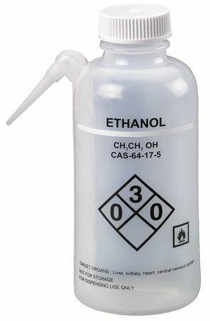 Lab Safety Supply 24J881 Translucent, Wash Bottle 16 Oz., 4 Pack