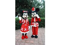 UK SELLER brand new Adult Micky and Minnie Christmas fancy dress mascots