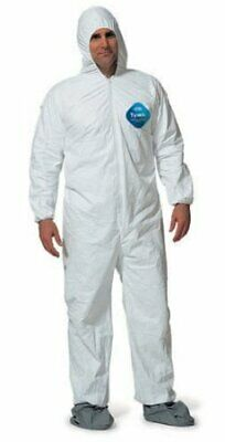Dupont-ty122s Disposable Elastic Bootie And Hood Tyvek Coverall Suit Large